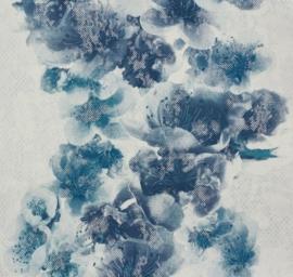 behang vlies bloemen blauw wit beige 93928-3