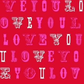 Love behang 136834 Love red & pink