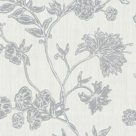 Bloemen Behang Wit, Grijs P&S 42072-10
