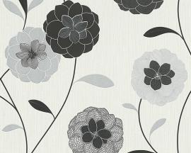 Behangpapier Bloemen Glitter Zwart Grijs 30176-4