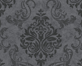 Behangpapier barok zwart grijs 95372-3