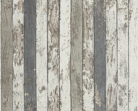 Behangpapier Hout Beige bruin blauw 95914-2