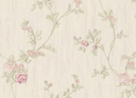 bloemen roosjes behang wit roze xx5