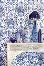 Eijffinger Savor 353053 Barok ornament blauw wit