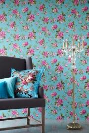 Behangpapier Roze Blauw Bloemen 310004