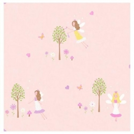 Carousel kinder behang DL21127 Fairies roze