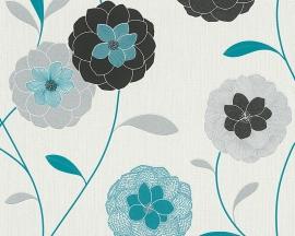 Behangpapier Bloemen Glitter Blauw Bloemen 30176-2