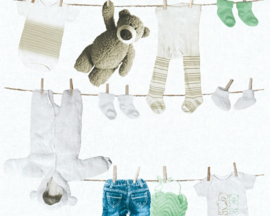 Kinderbehang Border teddyberen wit lichtgroen behang 35844-2