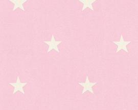 wit roze sterren behang 35991-2