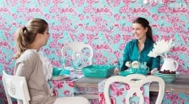 Love behang 136840 Love turquoise & pink