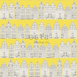 Denim & Co. Amsterdam houses yellow behang 137712 huizen geel