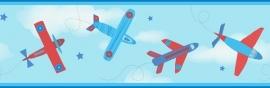 Carousel kinder behangrand DLB50086 Planes rood