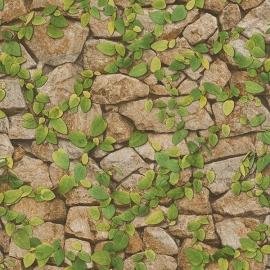 Stenen Blaadjes Bruin groen Behang 476408