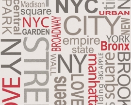 Behangpapier New York rood  93562-1