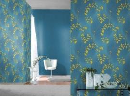 blauw geel bloemen vlies behang x02
