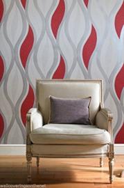 modern behang glitter rood wit xx15