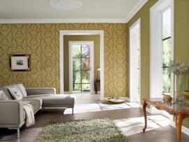 Rasch barok behang groen goud 513646