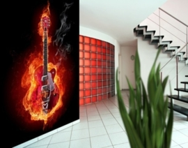 Fotobehang Flaming Guitar 125