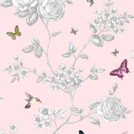 ROSE GARDEN BIRDS BLOEMEN VOGEL BEHANGPAPIER A14604