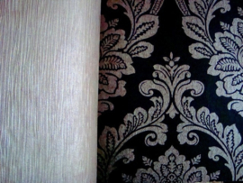 zwart zilver barok papier behang 11