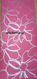 bloemen behang roze zilver k07