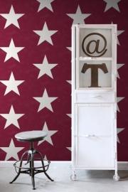136455 rood wit grote sterren behang