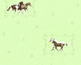meisjes groen paarden behang 35837-1