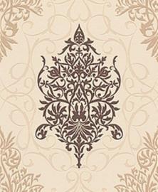 barok behang vlies bruin creme x121