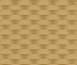 Strepen Geweven Behang Geel, Beige, Bruin 726428