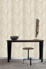 Denim & Co. wooden planks beige behang 137747