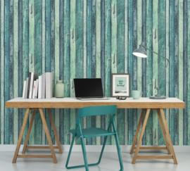 hout behangpapier groen/blauw 36282-1
