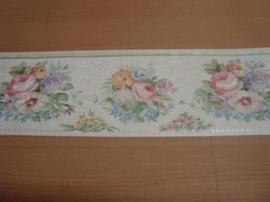 wit roze engelse bloemetjes behangrand 22