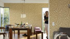 goud retro behang lambrisering 95476-1