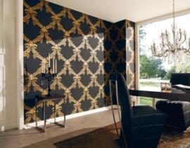 barok behang zwartgoud lambriseringbehang as creation la romantica