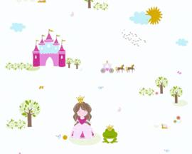 behangrand prinssese   levende wereld kinderen kleur Kleurrijk, wit patroon natuur materiaal vacht formaat 0,17x5,00 m