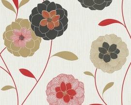 Behangpapier Bloemen Rood Zwart Beige  30176-5
