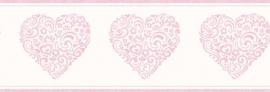 Carousel kinder behangrand DLB50079 Hearts roze