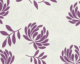 Behangpapier Bloemen Paars wit  96116-3