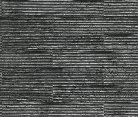 Behangpapier Zwart Grijs Stenen Behang  837841