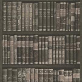 Boekenkast Behang 525823 zwart bruin