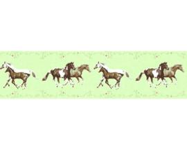 meisjes groen paarden behangrand 35838-1