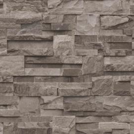 steen behangpapier vlies 3D bruin taupe