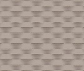Strepen Geweven Behang Grijs, Bruin 726442