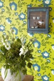 Bloemen Behang Groen, Blauw 321803