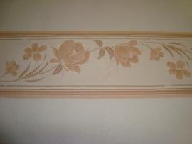 zalm beige modern bloemen behangrand