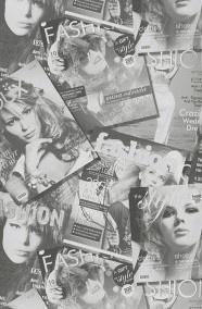 Tijdschriften fashion magazine behang grijs mw50101