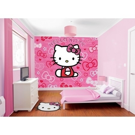 Walltastic - Hello Kitty roze rood fotowand