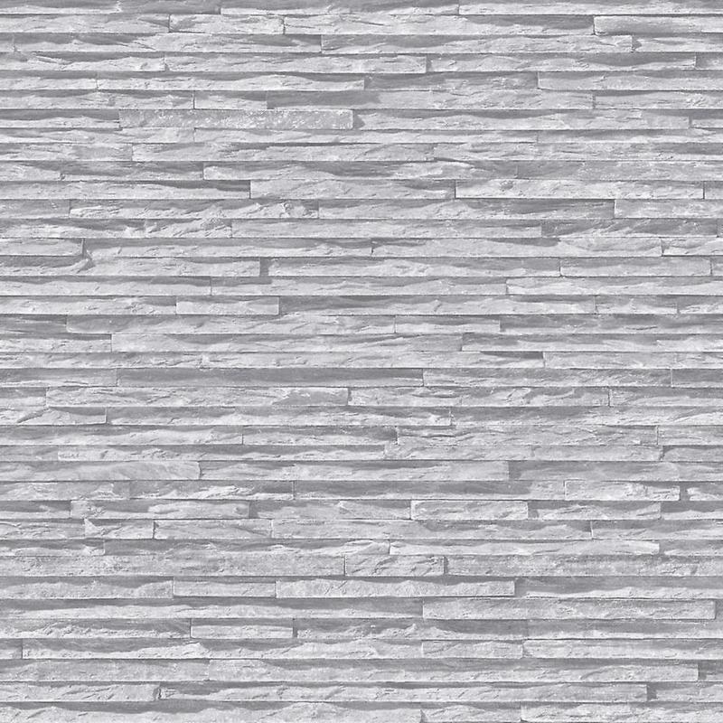 Steenstructuur behang grijs j21419