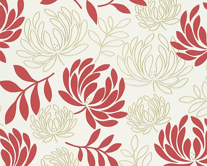 Behangpapier Bloemen rood wit  96116-2