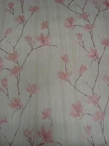 beige roze magnolia lambrisering bloemen behang vlies 54